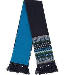 familiar patterned tassel scarf - blue