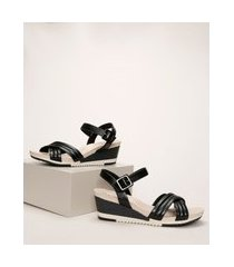 sandália feminina mondare ultra conforto anabela salto baixo tiras cruzadas preta