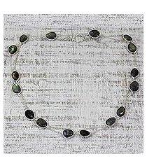 labradorite long chain necklace, 'duduma majesty' (india)