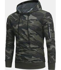 felpa con cappuccio manica lunga uomo moda camouflage pullover