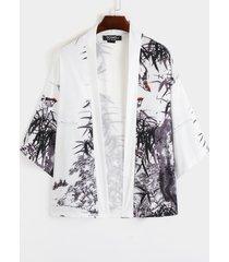 hombres summer bamboo hoja chaqueta de punto con estampado de paisaje de protección solar retro