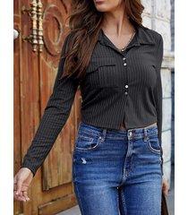 camicetta casual da donna a maniche lunghe con bottoni in maglia tinta unita