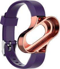 bastidor metálico smart watch de caucho para xiaomi mi banda 3 pulsera brazalete inteligente