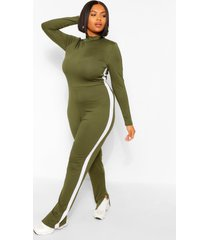 plus side stripe split sem jumpsuit, khaki