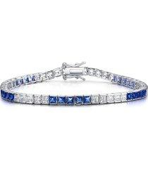 genevive cubic zirconia tennis bracelet in white/blue at nordstrom
