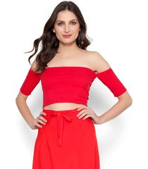 blusa lucy in the sky cropped vermelho - kanui