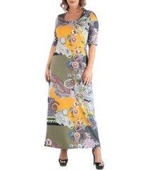 24seven comfort apparel women's plus size maxi print dress