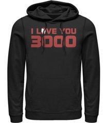 marvel men's avengers endgame i love you 3000 iron man helmet, pullover hoodie