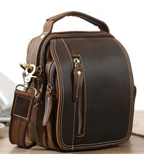 vintage casual vera pelle vita multi-tasca per esterno borsa crossbody borsa per uomo