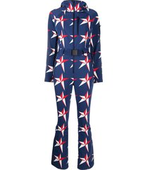 perfect moment star-print hooded ski suit - blue
