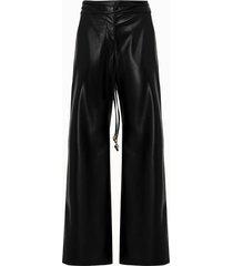 nanushka pantalone chimo in ecopelle nera