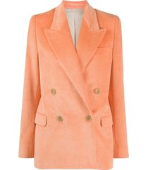 acne studios double-breasted corduroy blazer - orange