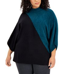 alfani plus size colorblocked kimono-sleeve sweater, created for macy's