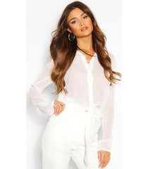 blouse met strik, wit