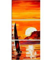 conjunto de telas decorativa barco a vela médio love decor