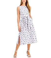 anne klein ivy-printed tie-sash midi dress