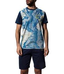 pyjama's / nachthemden admas for men pyjama kort t-shirt world national geographic blauw admas