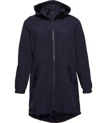 zaspen, soft shell jacket parka lange jas jas blauw zizzi