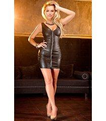 soleil by xxx collection zwarte leren getailleerde jurk