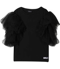 monnalisa black t-shirt with tulle