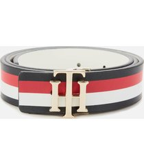 tommy hilfiger women's reversible logo belt - corporate/white - 90cm/36in