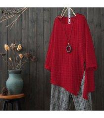 zanzea mujeres floja ocasional sólido superior básico camiseta de manga larga túnica de la blusa -rojo