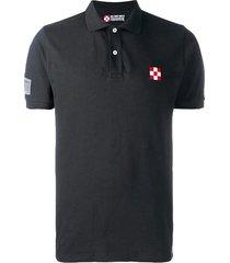 black piquet polo with st. barth check logo