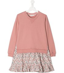 bonpoint teen floral skirt sweater dress - pink