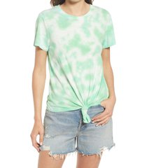 sanctuary perfect knot tie dye t-shirt, size medium in beach green tie-dye at nordstrom