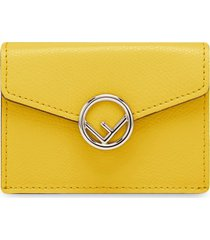 fendi micro tri-fold wallet - yellow