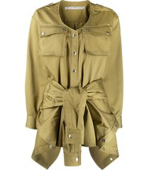 alexander wang tie-waist cotton playsuit - green