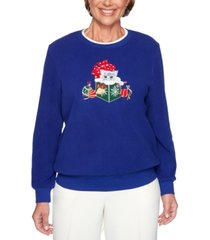 alfred dunner petite classics embroidered kitten top