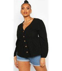 plus blouson sleeve peplum top, black