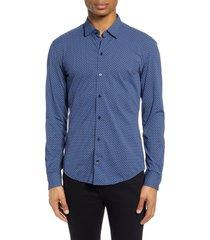 men's boss robbie regular fit dot print button-up performance shirt