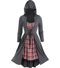 plus size plaid hooded twofer long sleeve dress