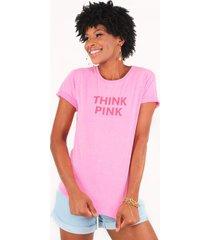 blusa t-shirt think pink pop me - rosa - feminino - dafiti