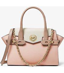 mk borsa a mano carmen piccola in pelle saffiano color-block - rosa tenue/crema chiaro/marrone chiaro (rosa) - michael kors