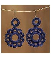 crocheted cotton dangle earrings, 'ocean's tale' (india)