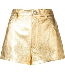 metallic laminated leather shorts