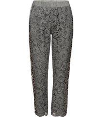pants w. lace and leopard stribe pantalon met rechte pijpen grijs coster copenhagen