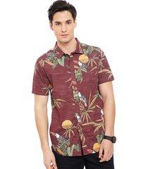 camisa billabong sundays floral ss burdeo - calce regular