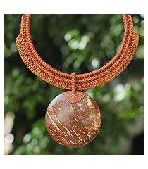 coconut shell and leather pendant necklace, 'rustic moon' (thailand)