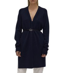 women's helmut lang belted wool & cashmere cardigan, size large - blue