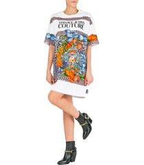 vestito abito donna corto miniabito manica corta optical flowers