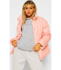 tall gewatteerde jas, pink