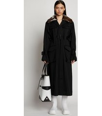 proenza schouler wool twill shearling trimmed belted trench coat black 12