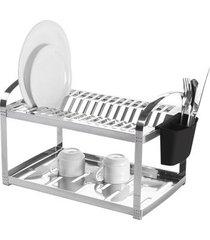 escorredor de pratos brinox em inox com porta-talheres prata