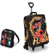mochila escolar 3d com rodinhas e lancheira maxtoy liga da justiça the flash masculina