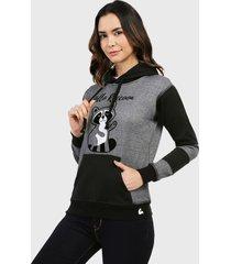 buzo hoodie para mujer gris y negro en algodón perchado - mapache