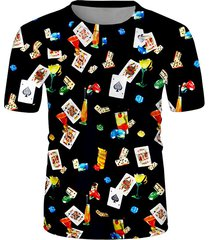 poker card cocktail print crew neck casual t shirt